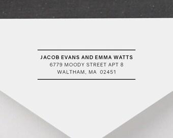 Personalized Return Address Stamp - Modern Address Stamp, Self-Inking Return Address Stamp, Wood Address Stamp, Custom Stamp Style No. 47