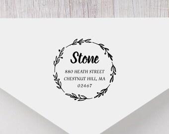 Personalized Return Address Stamp - Wreath Address Stamp, Self-Inking Return Address Stamp, Wood Address Stamp, Custom Stamp Style No. 38