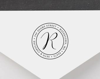 Personalized Return Address Stamp - Initial Address Stamp, Self-Inking Return Address Stamp, Wood Address Stamp, Custom Stamp Style No.16