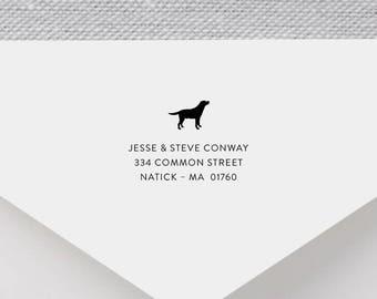 Labrador Personalized Return Address Stamp - Dog Address Stamp, Self-Inking Address Stamp, Wood Address Stamp, Custom Stamp Style No. 52