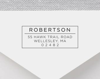 Personalized Return Address Stamp - Modern Address Stamp, Self-Inking Return Address Stamp, Wood Address Stamp, Custom Stamp Style No. 5