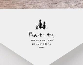 Forest Personalized Return Address Stamp, Tree Address Stamp, Self-Inking Return Address Stamp, Wood Address Stamp, Custom Stamp Style No.45