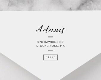Personalized Return Address Stamp - Calligraphy Address Stamp, Self-Inking Return Address Stamp, Wood Address Stamp, Custom Stamp Style No.8