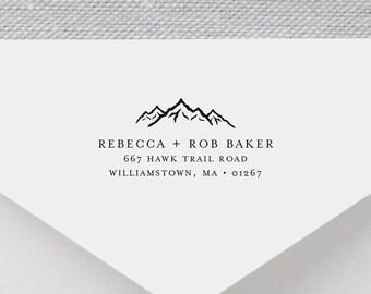 Elegant Mountain Return Address Stamp - Personalized Address Stamp, Self-Inking Address Stamp, Wood Address Stamp, Custom Stamp Style No. 64