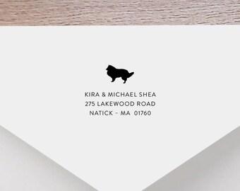 Collie Personalized Return Address Stamp - Sheltie Dog Address Stamp, Self-Inking Address Stamp, Wood Address Stamp, Stamp Style No. 63