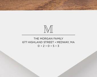 Personalized Return Address Stamp - Monogram Address Stamp, Self-Inking Return Address Stamp, Wood Address Stamp, Custom Stamp Style No. 36