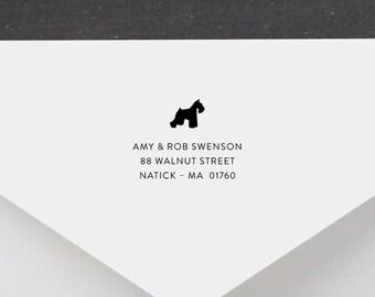 Schnauzer Personalized Return Address Stamp - Dog Address Stamp, Self-Inking Address Stamp, Wood Address Stamp, Custom Stamp Style No. 53