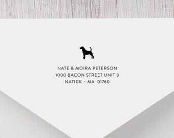 Hound Personalized Return Address Stamp - Hound Dog Address Stamp, Self-Inking Address Stamp, Wood Address Stamp, Custom Stamp Style No. 62