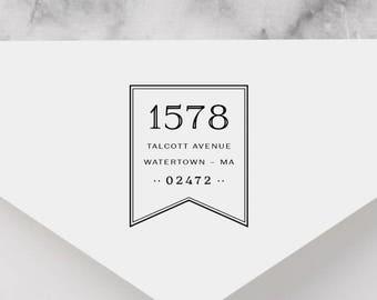 Banner Personalized Return Address Stamp, Ribbon Address Stamp, Self-Inking Address Stamp, Wood Address Stamp, Custom Stamp Style No. 49