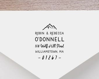Mountain Return Address Stamp - Personalized Address Stamp, Self-Inking Return Address Stamp, Wood Address Stamp, Custom Stamp Style No. 35