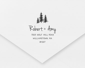 1 x 2.5 inches Return Address Stamp Mountains Couple Address Stamp