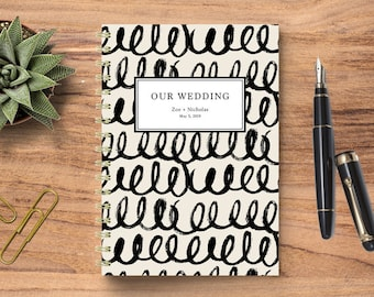 Wedding Planning Notebook, Wedding Journal, Wedding Notebook, Personalized Wedding Planner, Personalized Notebook, Squiggle Brushstrokes