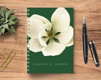 Wedding Planning Notebook, Wedding Journal, Wedding Notebook, Personalized Wedding Planner, Personalized Notebook, Modern Magnolia Notebook