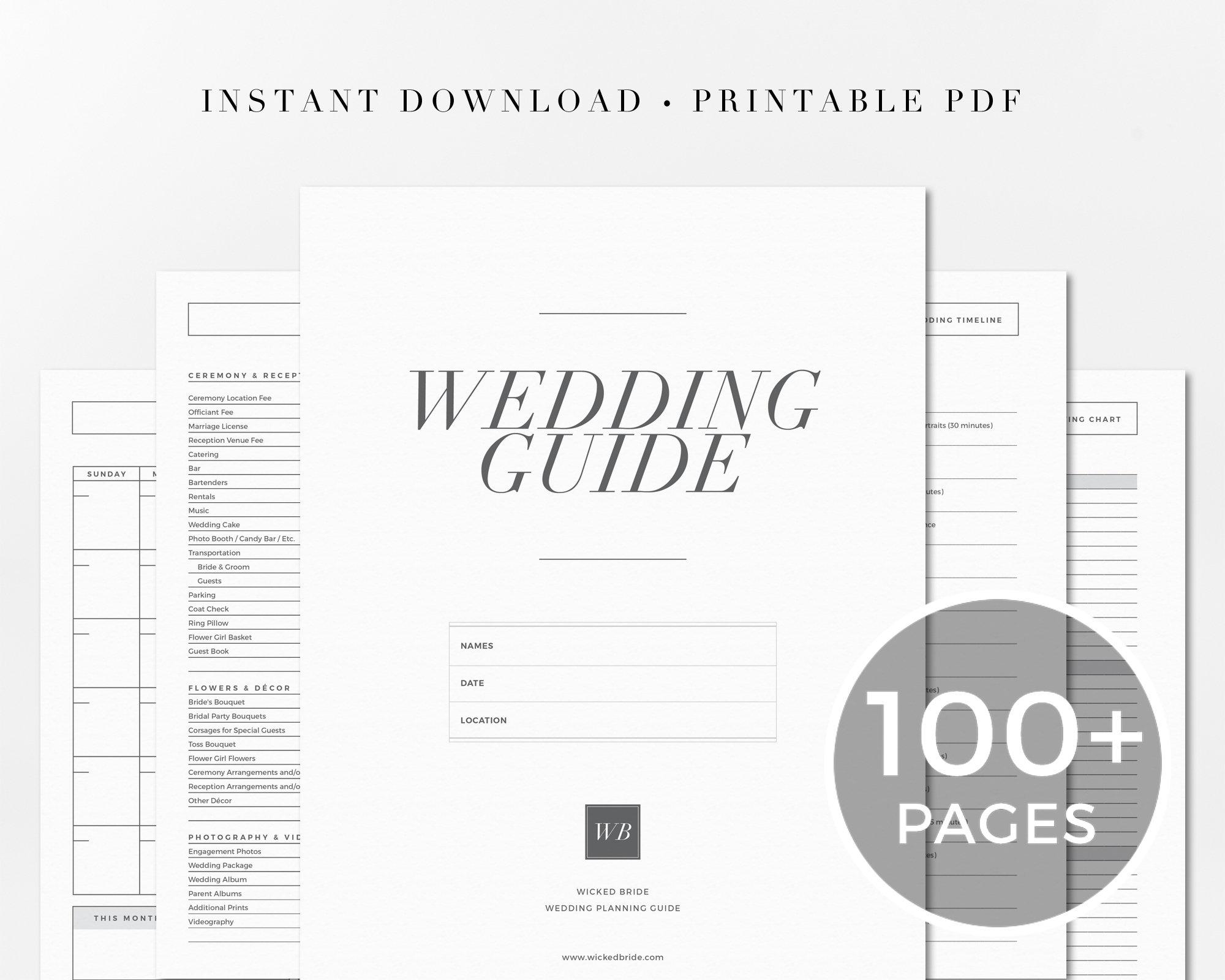 Printable Wedding Planner, Wedding Planning Book, Wedding Binder Template,  Wedding Organizer, Engagement Gift, Instant Download, 100 pages