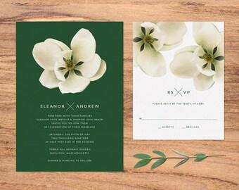 Modern Magnolia Wedding Invitation & RSVP Set