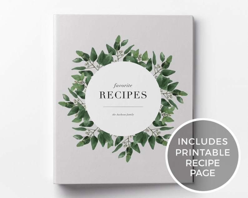 Recipe Binder & Printable Recipe Card Custom 3-Ring Binder image 0