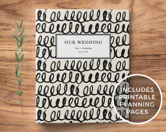 Wedding Planning Binder + Printable Wedding Planner, Custom 3-Ring Binder - Engagement Gift, Bridal Shower Gift - Rustic Brushstrokes