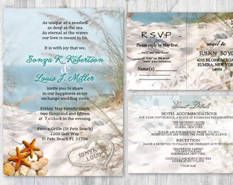 beach wedding invitations ocean theme destination wedding etsy
