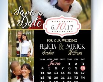 Calendar Save The Date Magnets Wedding Invitation Magnet Large Custom Save The Dates, Custom Color Save The Date Magnets, Wedding