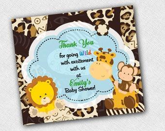 Jungle Favor Magnets Invitation Birthday Baby Shower Save The Date Thank You Giraffe Monkey Lion Boy Safari Custom