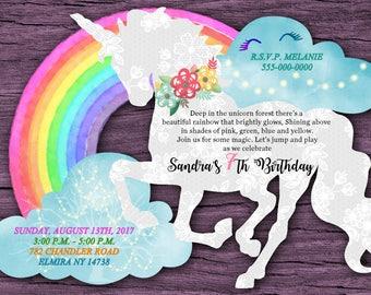 Unicorn Birthday Invitations Shaped Girl Custom Rainbow Shape Invites Pony Party
