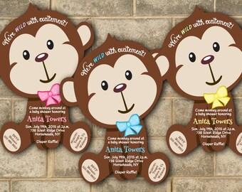 Monkey baby shower etsy monkey baby shower invitations jungle baby shower invitation mod monkey invitation safari invitations boy girl baby boy baby girl filmwisefo