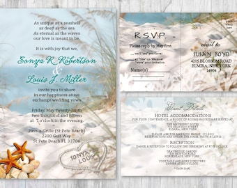 beach wedding invitations seashell wedding invitation beach etsy