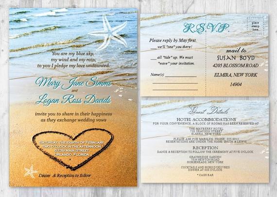 Beach Wedding Invitations Heart In Sand Wedding Invitation Etsy