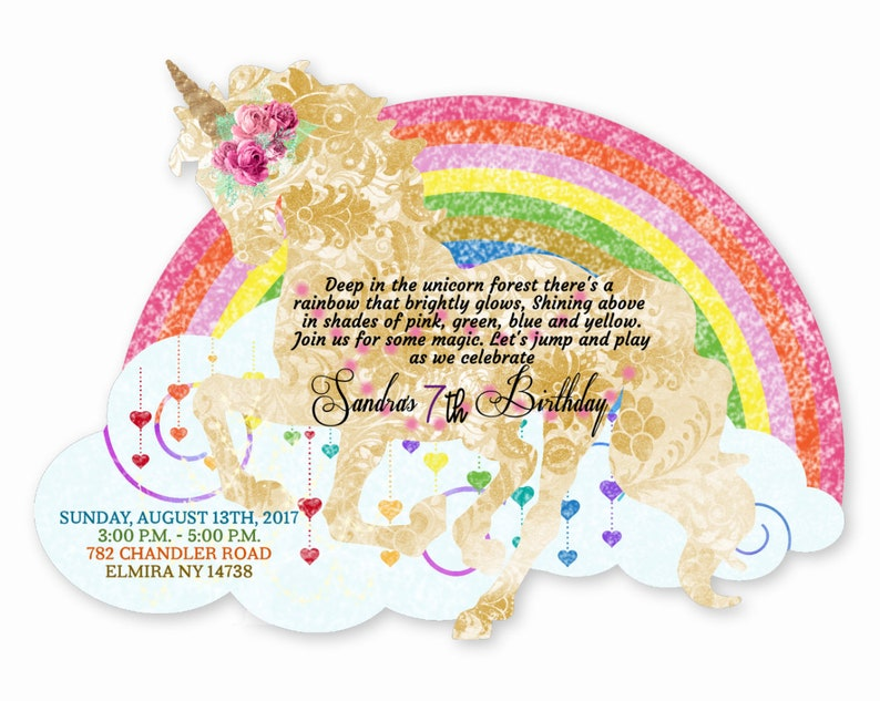Custom Unicorn Birthday Invitations For Girl Rainbow Invites