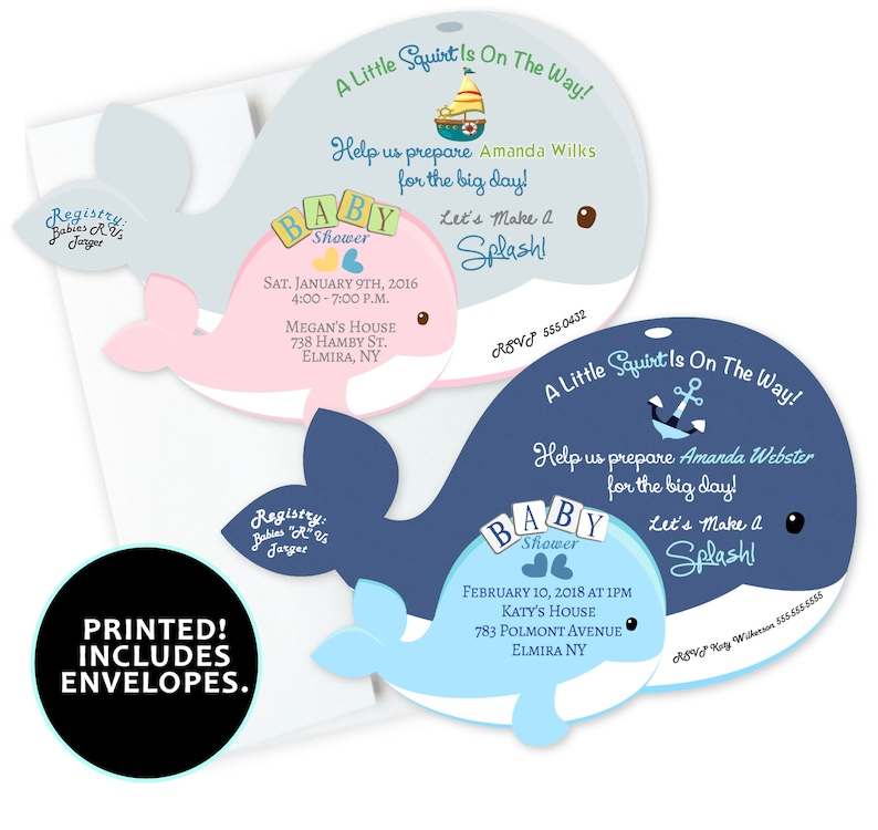 Whale Invitations Boy Or Girl Pink Or Blue Whale Shaped Etsy