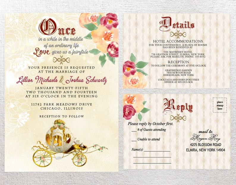 Fairytale Wedding Invitation Quinceanera Invitation Medieval Etsy