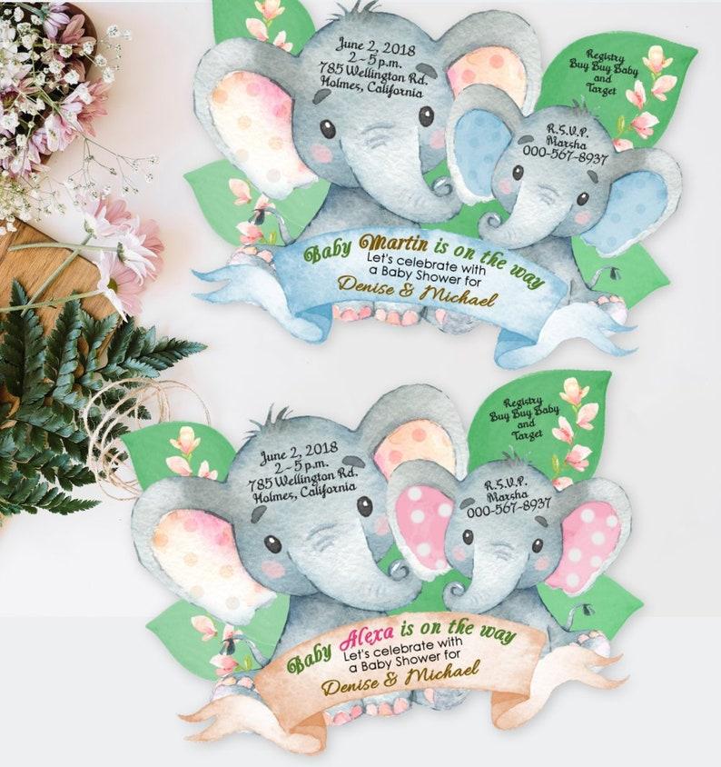 Elephant Baby Shower Invitations Girl Birthday Invitation Boy Safari Animal Theme SHAPED Card Elegant Unique SET OF 20