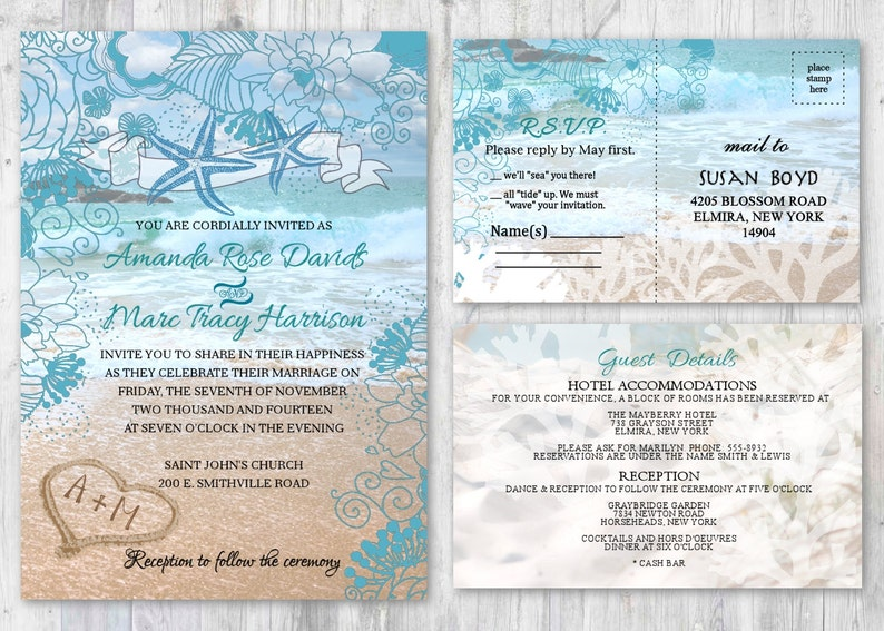 Beach Wedding Invitations Starfish Wedding Invitation Beach Etsy