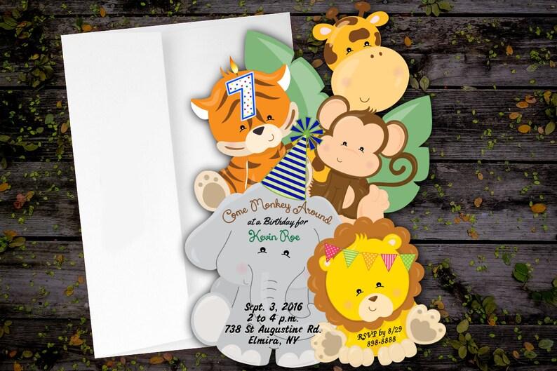 Jungle Birthday Invitation Birthday Party Jungle Invites Unique Birthday Invitation Jungle Card Boy Jungle Girl Jungle Any Age Birthday