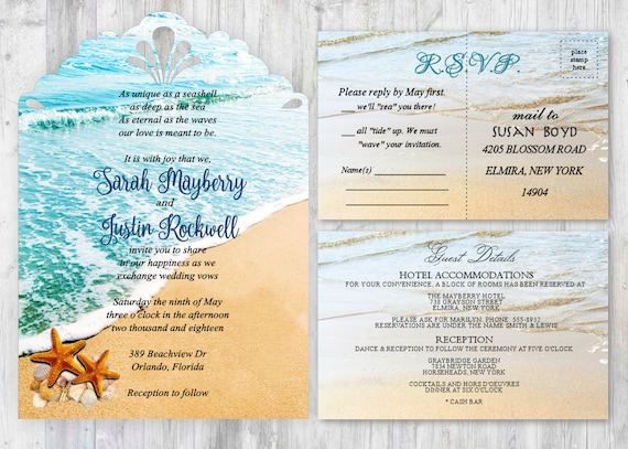 45 Set Starfish Beach Wedding Invitations Ocean Wedding Etsy