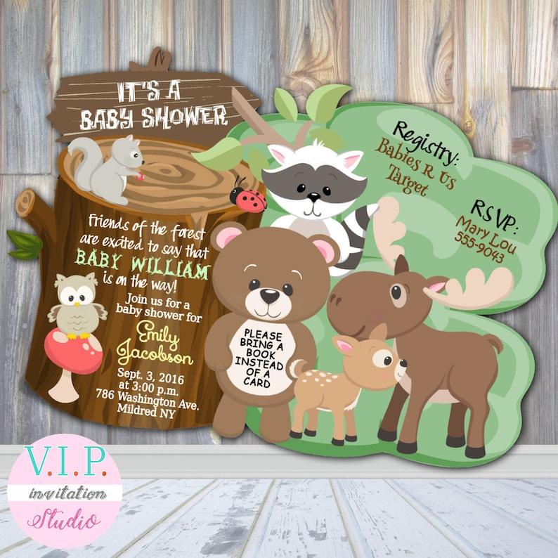 Birthday or Baby Shower Invitations Woodland Personalized Custom Girl Boy Qty 20