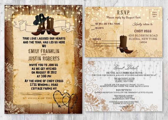 Boots Wedding Invitations: Cowboy Wedding Invitations Rustic Boot Wedding Invitations