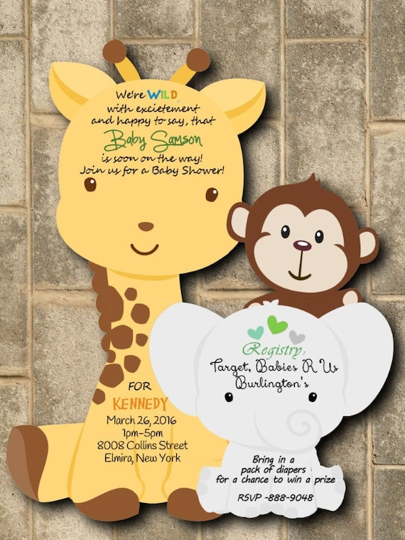 Jungle Baby Shower Printed Boy Jungle Shower Invitations Etsy