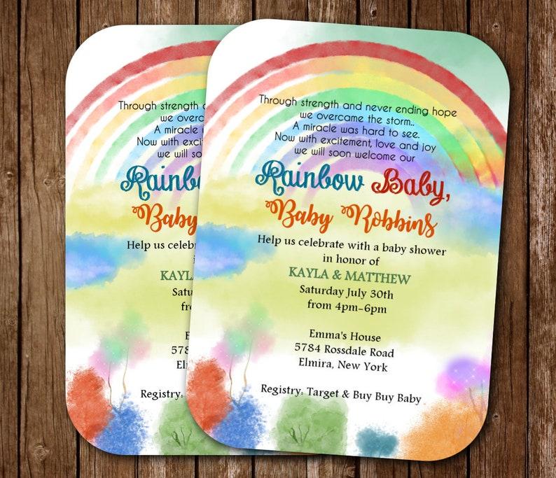 Rainbow Baby Shower Invitations Rainbow Boy Girl Watercolor Rainbow Sprinkle Invitations Twin Gender Neutral Shower Invites Shower