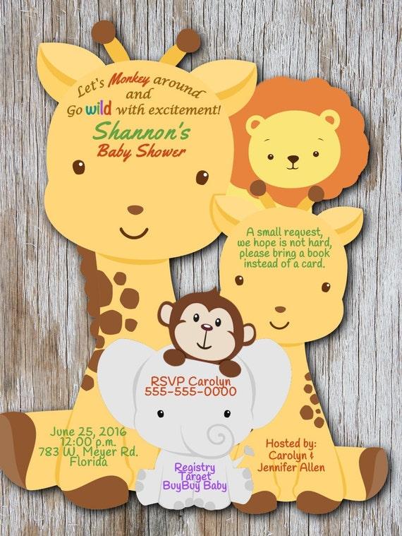 Jungle baby shower invitation elephant baby shower giraffe etsy image 0 filmwisefo