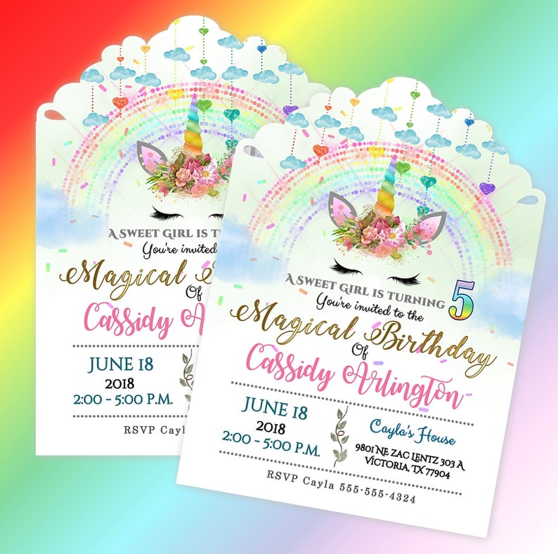 Unicorn Girl Birthday Invitations Decoration Rainbow Themed Party Invites Set Of 20 Personalized Invitation With Envelopes
