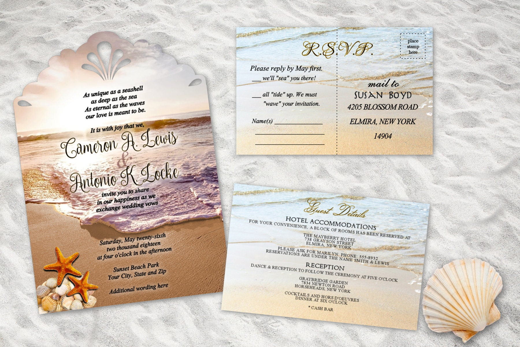 Beach wedding invitations ocean wedding invitation starfish etsy ampliar filmwisefo