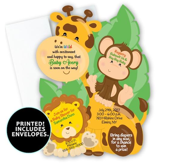 set of 10 safari baby shower invitations jungle shower theme etsy