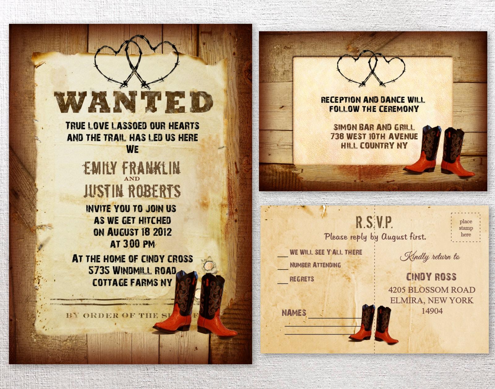 Western Wedding Invites: Western Wedding Invitations Rustic Wedding Invitation