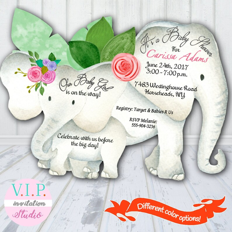 Elephant Baby Shower Invitation Pink Girl Baby Shower Invites Etsy