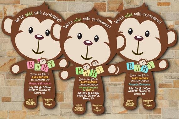 Monkey baby shower invitations jungle baby shower invitation etsy image 0 filmwisefo