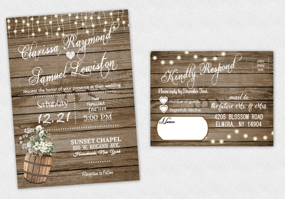 rustic wedding invitations country theme invites barrel etsy