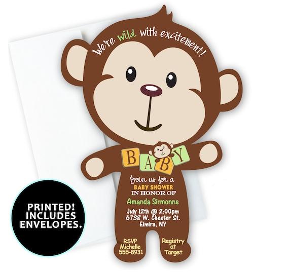 Monkey Baby Shower Invitation Jungle Birthday Party Invitations Twin 1st Invites Qty Of 10