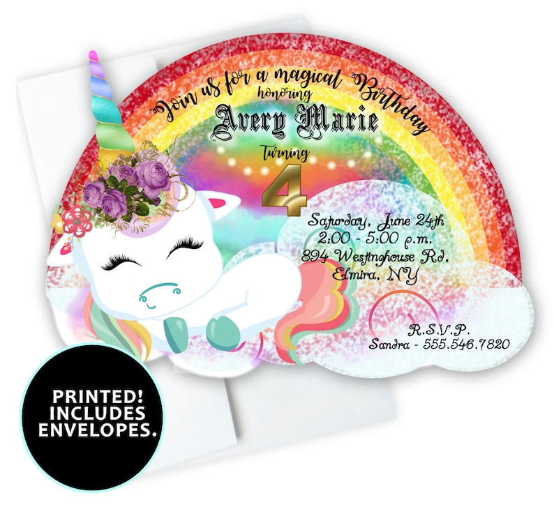 Unicorn Birthday Invitations Rainbow Baby Shower