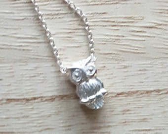 Sterling Silver Necklace - Owl Necklace - Owl Charm - Baby Owl - Silver Necklace - Layering Necklace - Sterling Silver Owl - Owl Jewelry